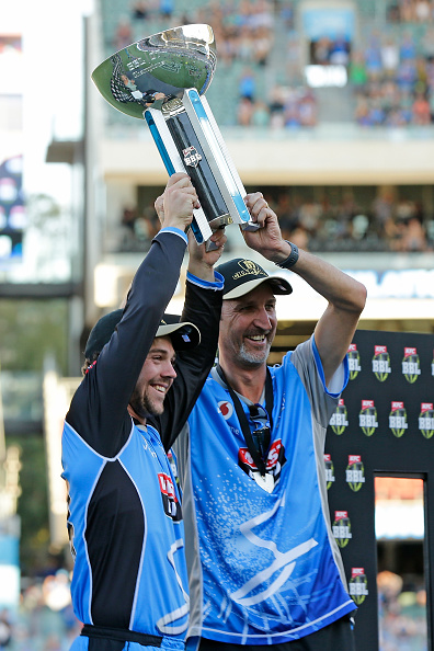 New Head Coach, Jason Gillespie with the Big Bash trophy
